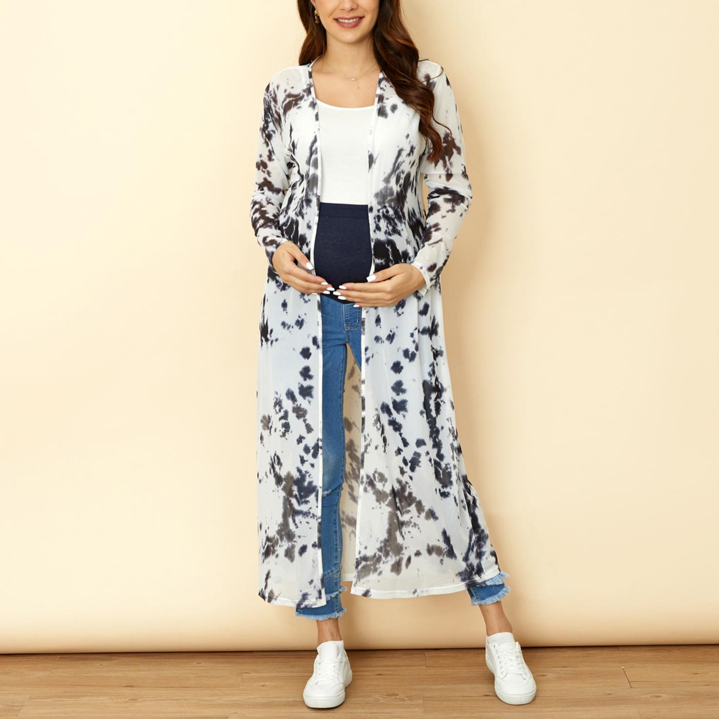 Maternity Tie Dye Tulle Long-sleeve Cardigan Coat