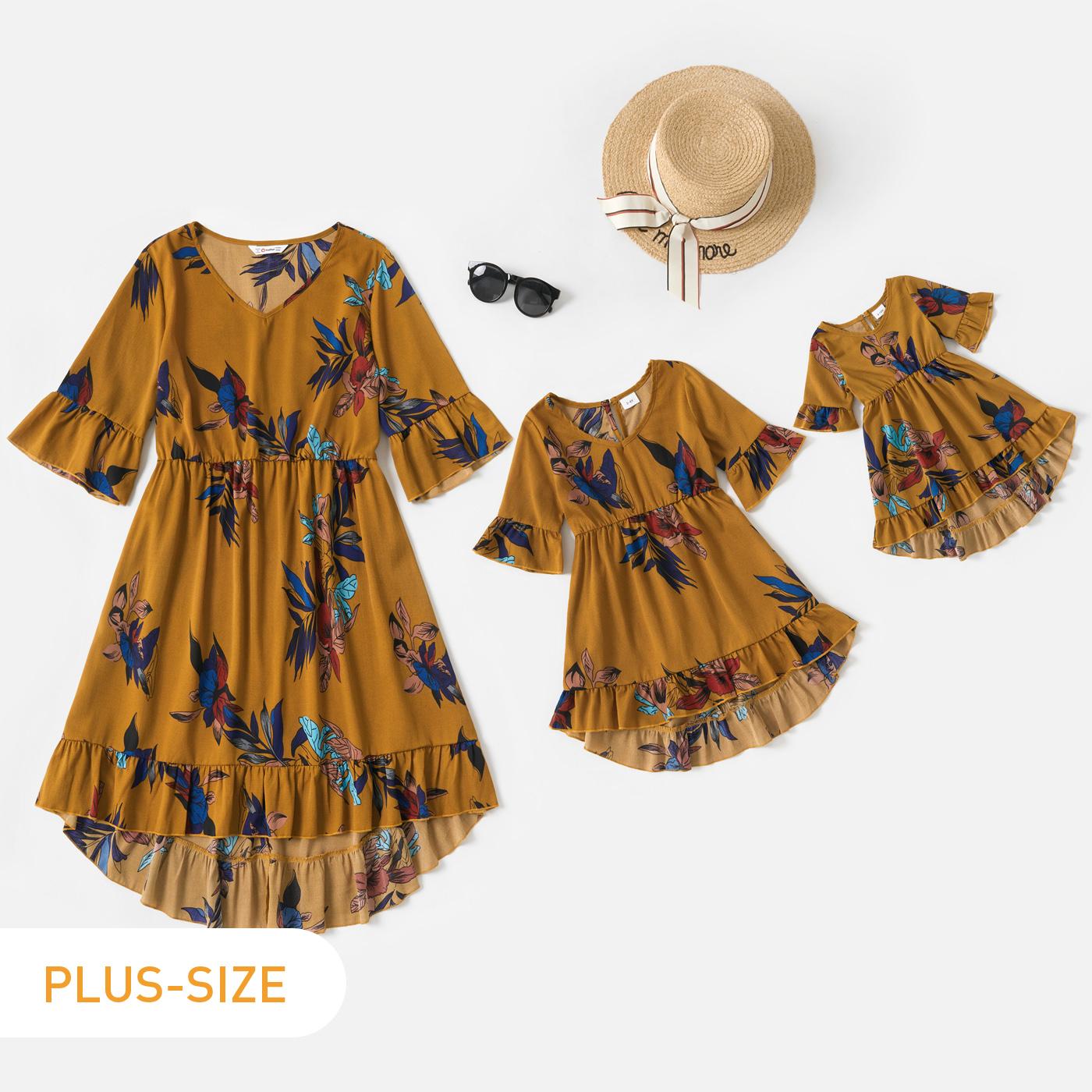 فستان ميدي بطبعة زهور أصفر بياقة على شكل V وأكمام جرس وحافة مكشكشة لأمي وأنا
