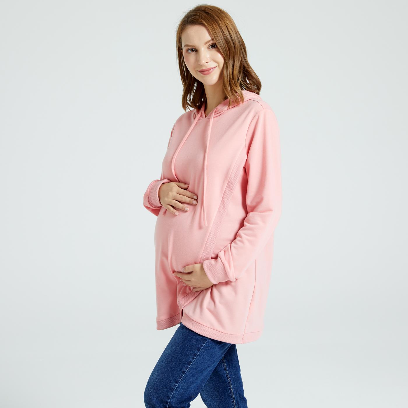 Nursing Pink Long-sleeve Drawstring Hoodie