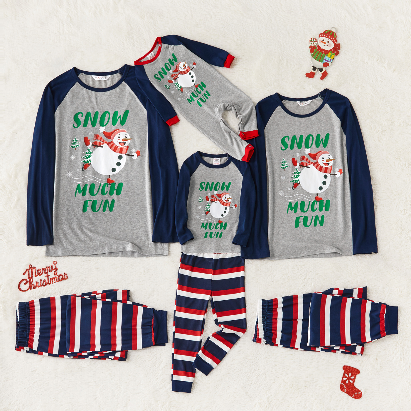 Christmas Snowman and Letter Print Family Matching Long-sleeve Striped Pajamas Sets