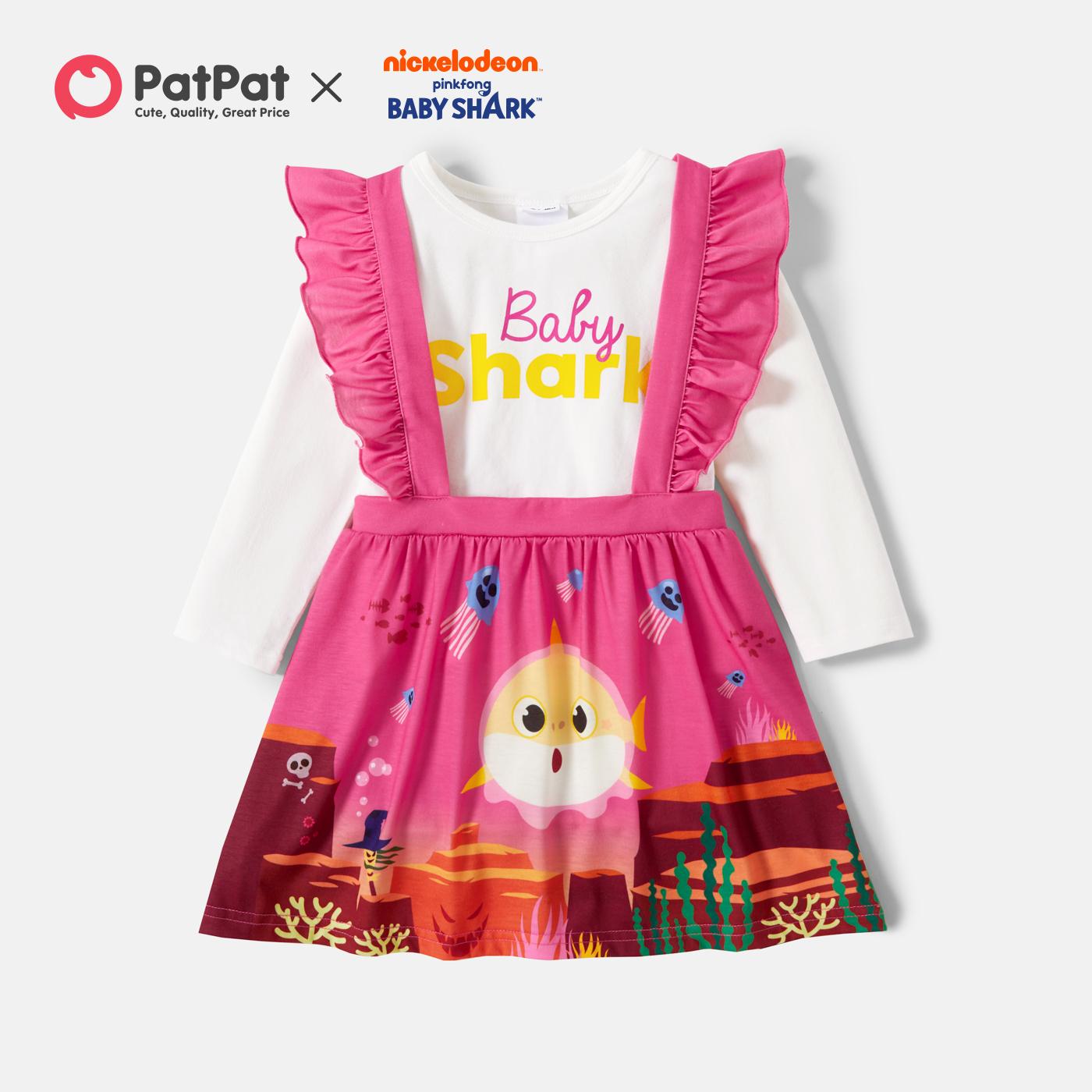 Baby Shark 2-piece Toddler Girl Flounce Skirt and Top Set