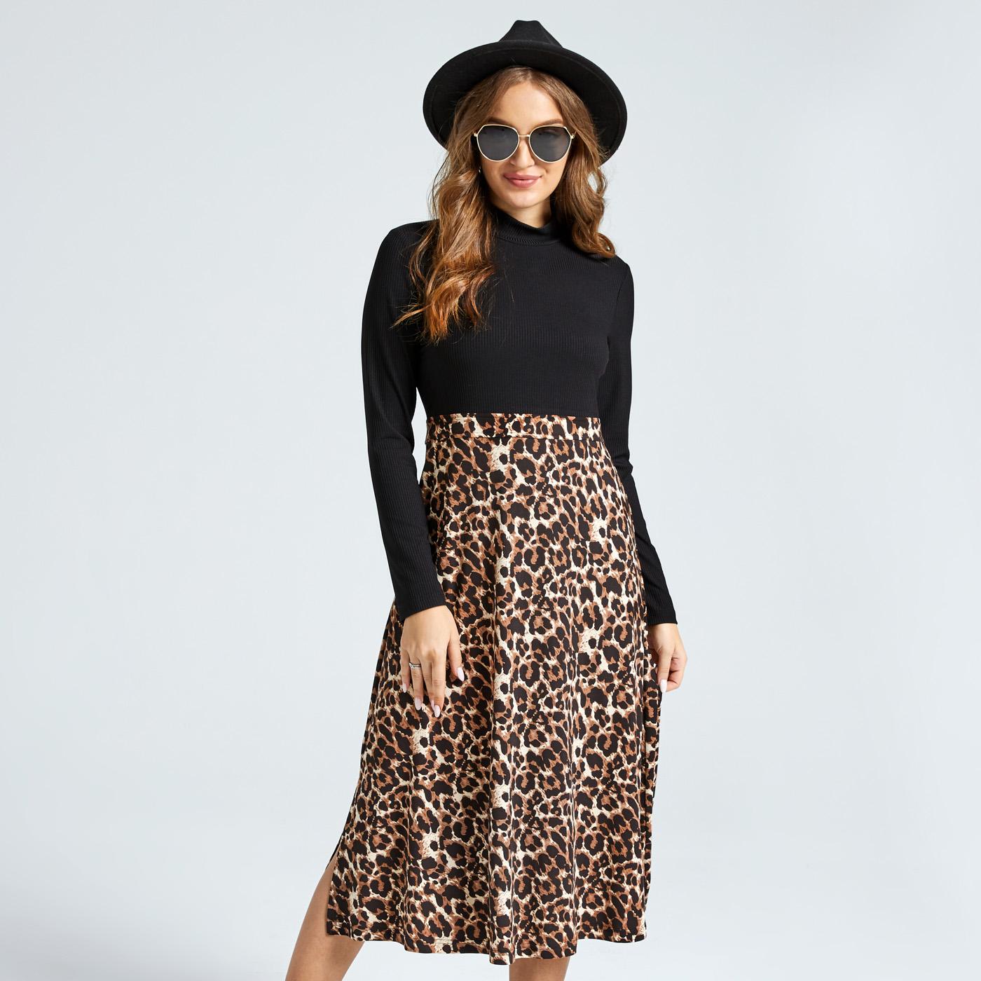 Casual Leopard Print Splice Stand Collar Long-sleeve Midi Dress