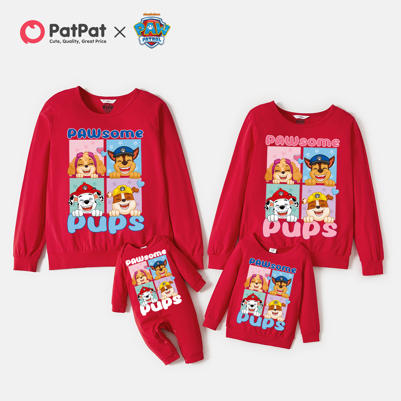 PAW Patrol Cotton Pups Team Graphic Family Matching Pullover Sweatshirts