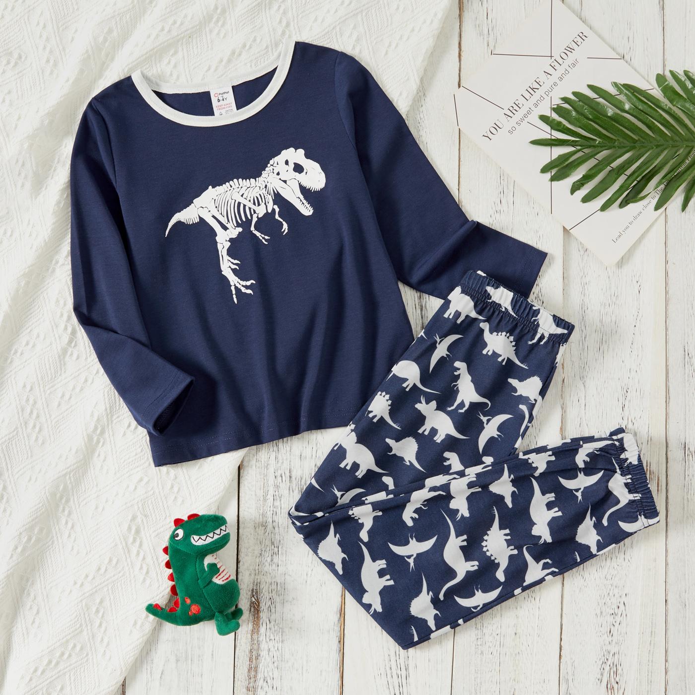 2-piece Kid Boy Animal Dinosaur Print Long-sleeve Top and Pants Pajamas Lounge Set