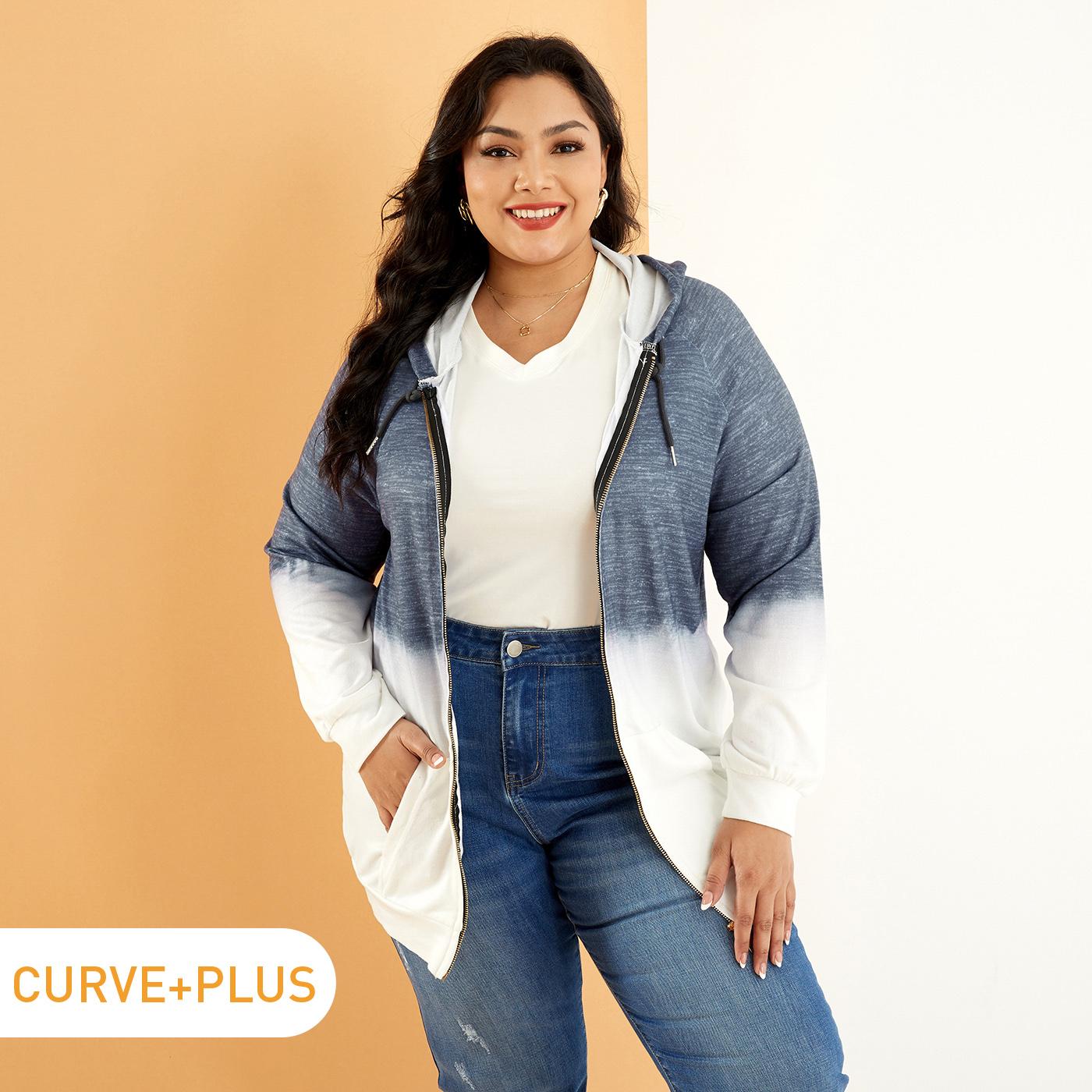 Women Plus Size Casual Ombre Colorblock Drawstring Zipper Hooded Jacket
