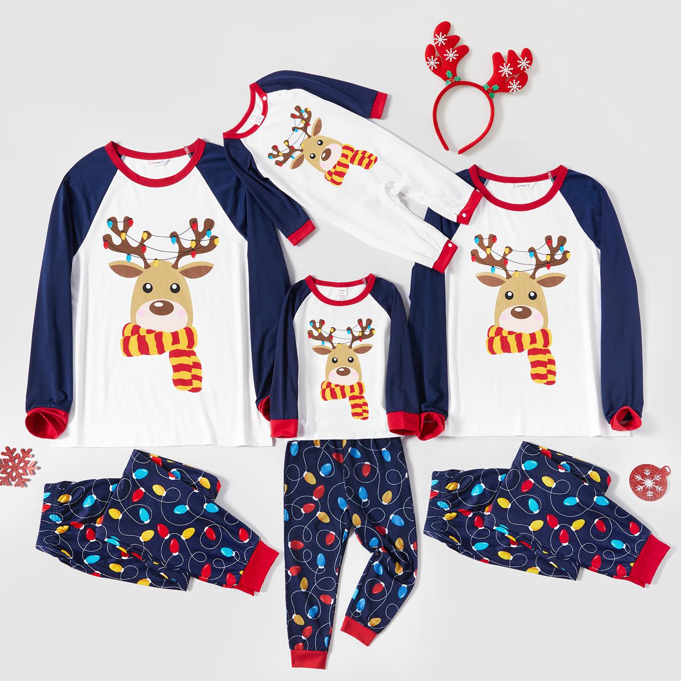 Pijamas para família estampagem cervo teste padrão do natal Natal