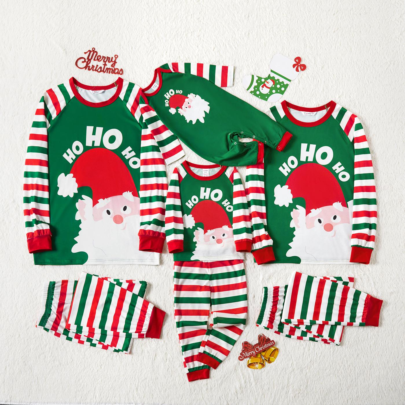 Pijamas para família estampagem Papai Noel Riscas Natal