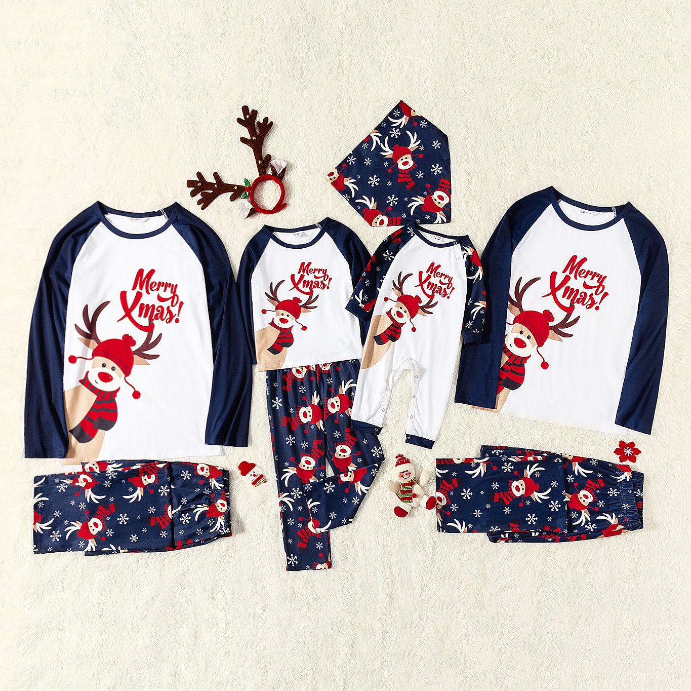 Merry Xmas Letters and Reindeer Print Navy Family Matching Long-sleeve Pajamas Sets (Flame Resistant)