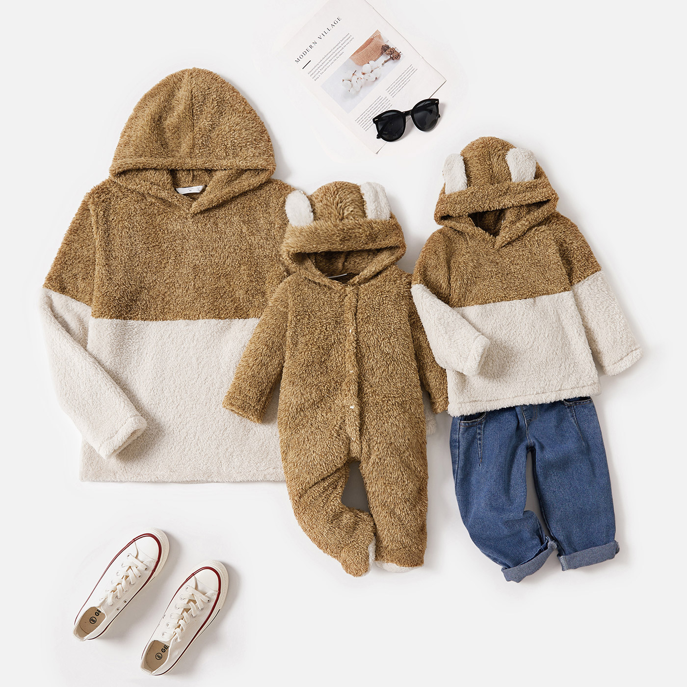 Brown Splicing Fuzzy Fleece Long-sleeve Hoodies for Mom and Me