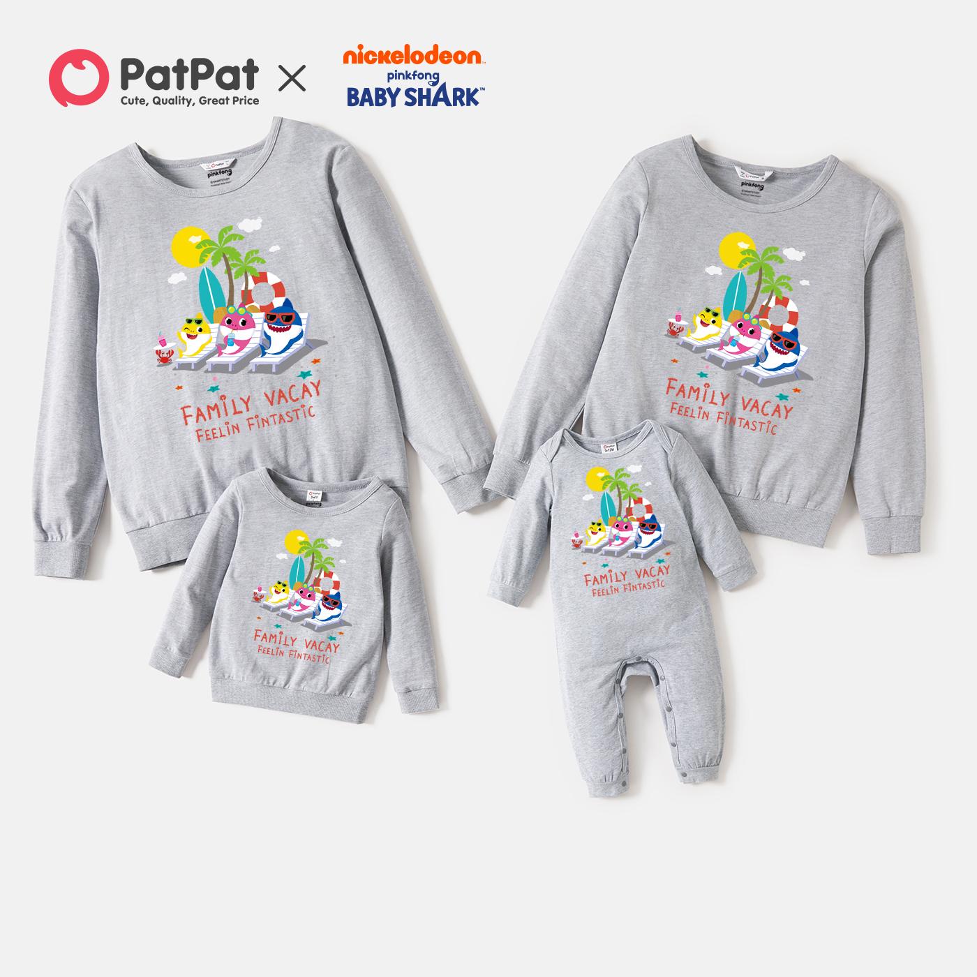 Baby Shark Family Vacay Graphic Cotton Family Matching Sweatshirts