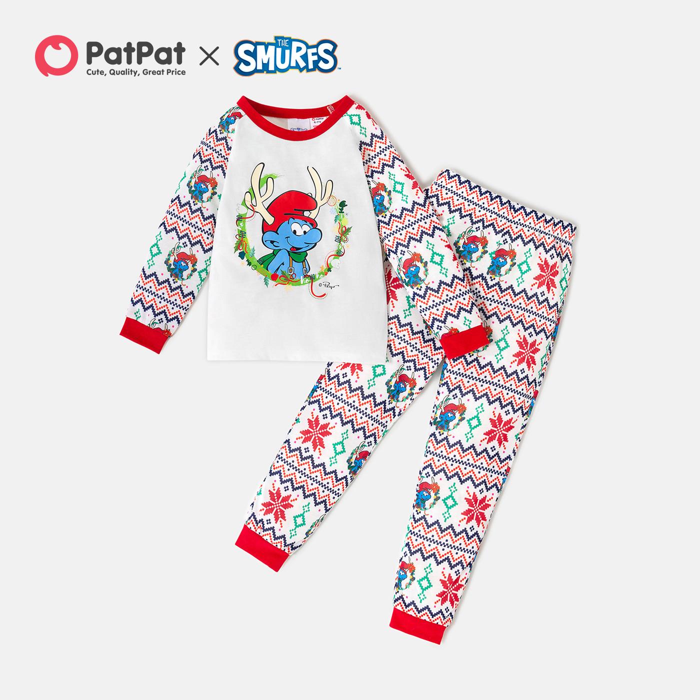 Smurfs 2-piece Kid Boy/Kid Girl Graphic Top and Allover Pants Christmas Pajamas Set(Flame Resistant)