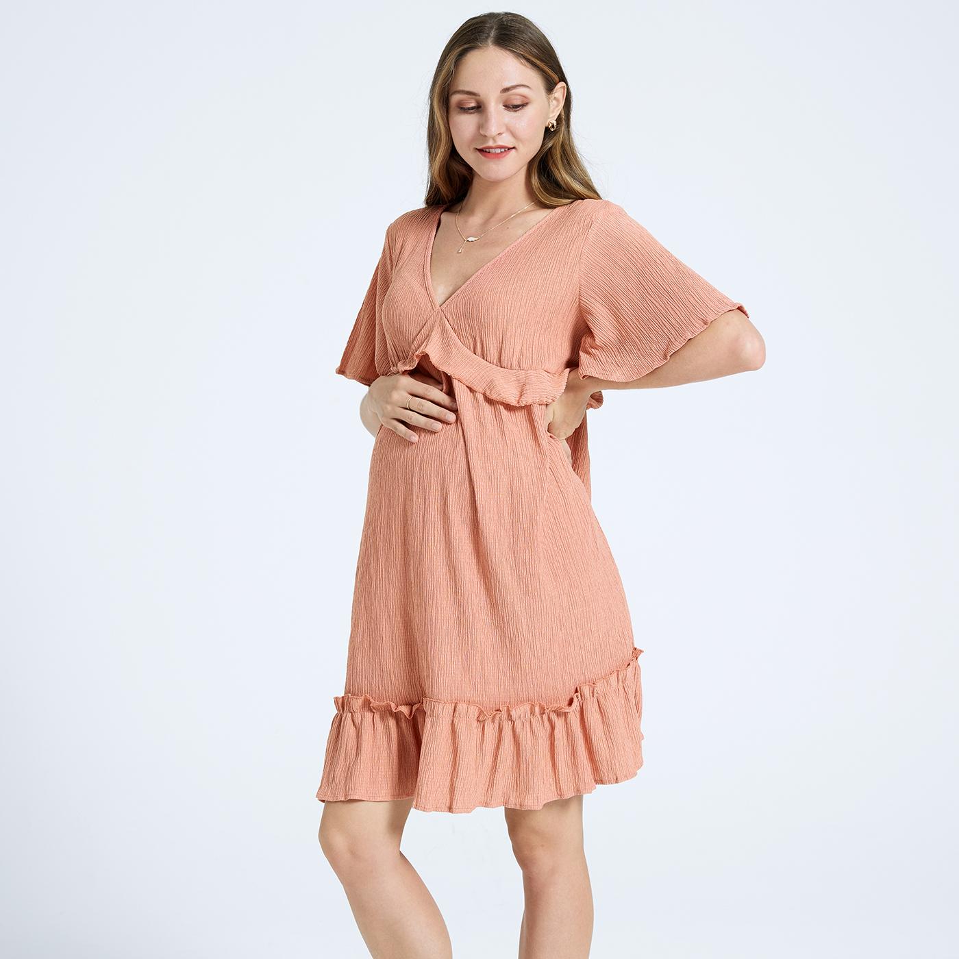فستان قصير الأكمام ملابس للحوامل