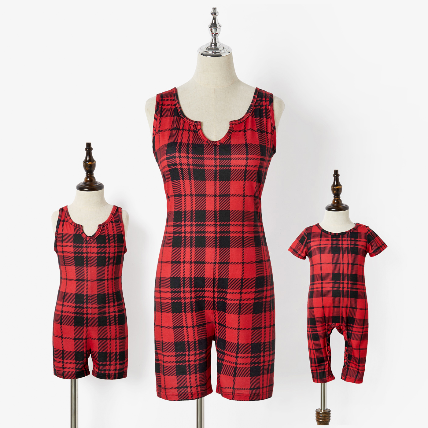 Christmas Red Plaid Stretchy Sleeveless Tank Romper Shorts for Mom and Me