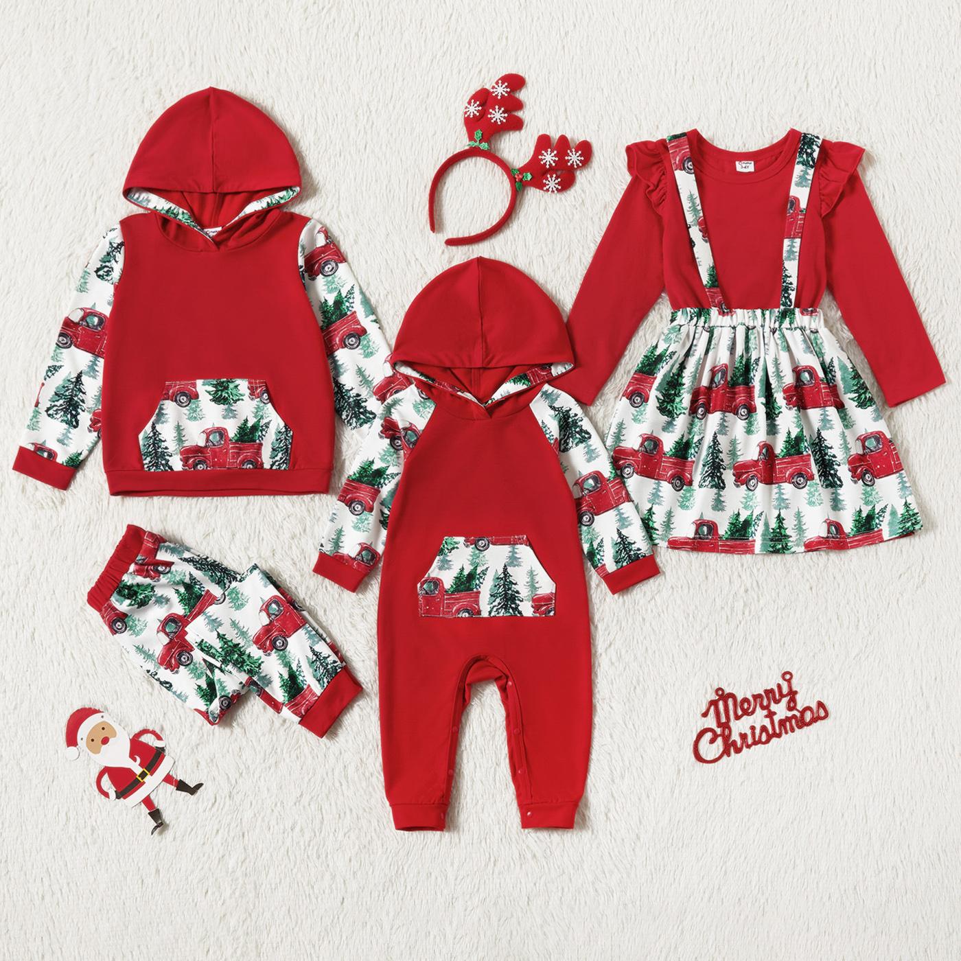 Christmas Tree and Car Print Splicing Red Sibling Matching Long-sleeve Sets