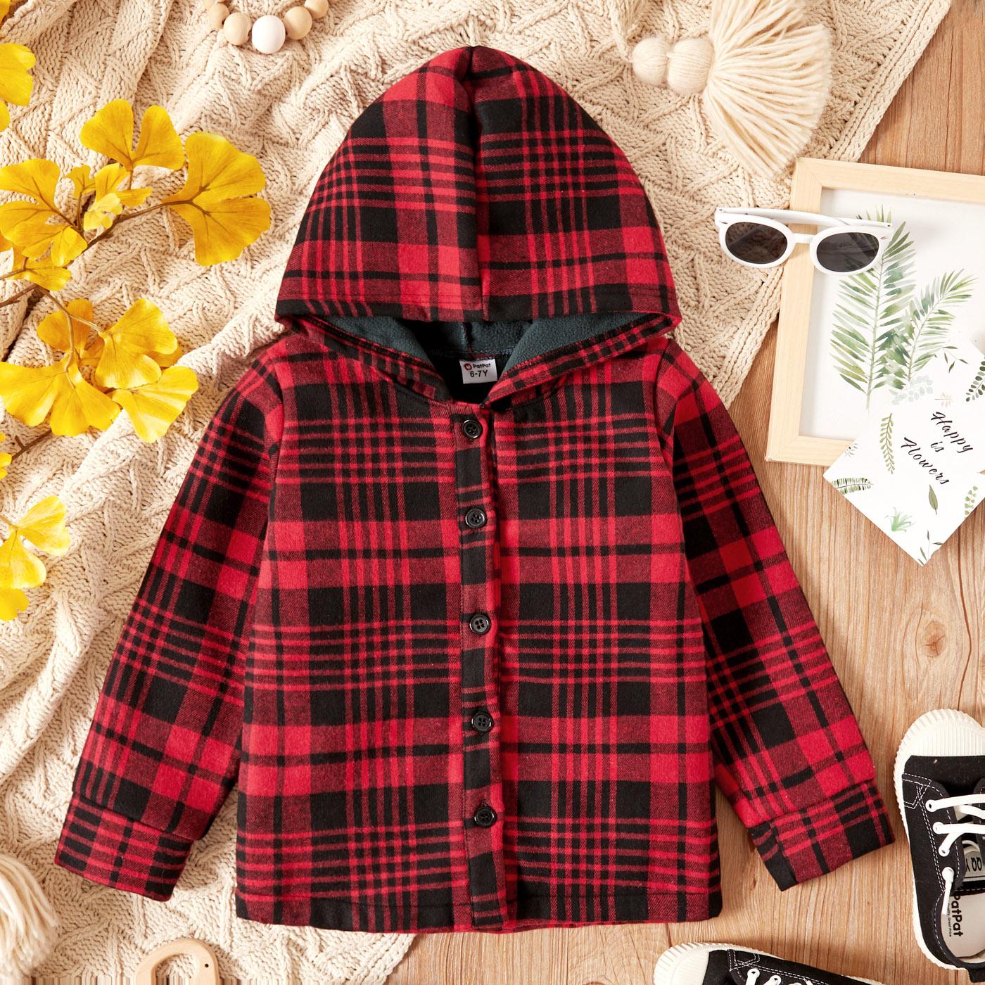 Kid Boy/Kid Girl Plaid Button Design Fleece Lined Hooded Shirt