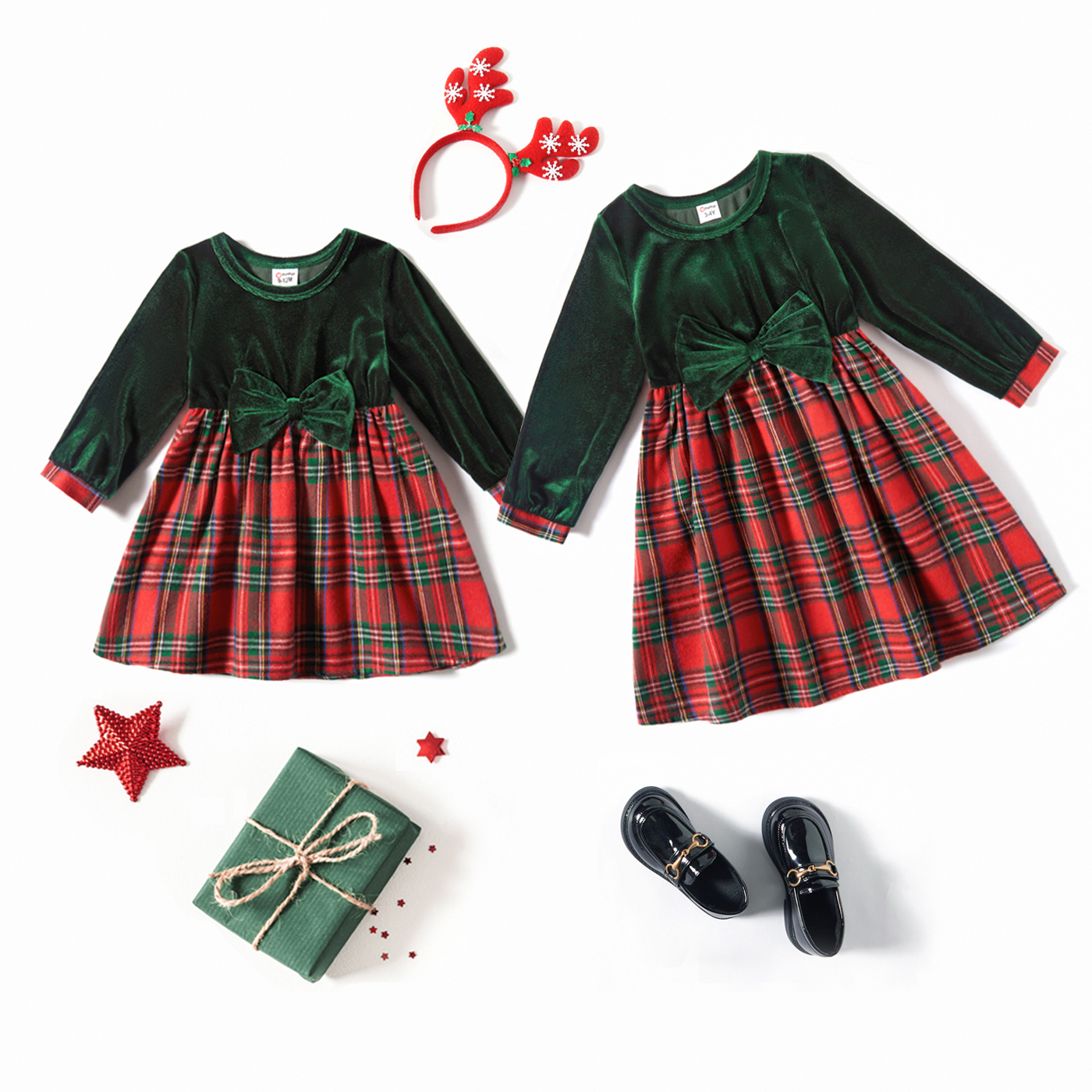 Christmas Velvet Bowknot Long-sleeve Splicing Red Plaid A-line Dress for Sister and Me