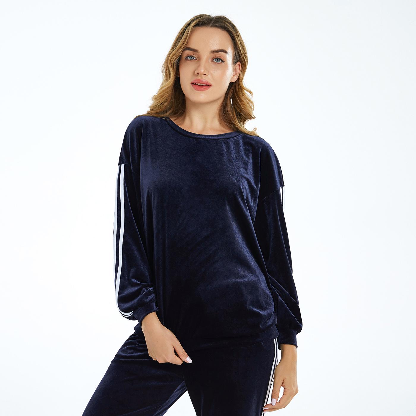 Dark Blue Round-collar Long-sleeve Pullover
