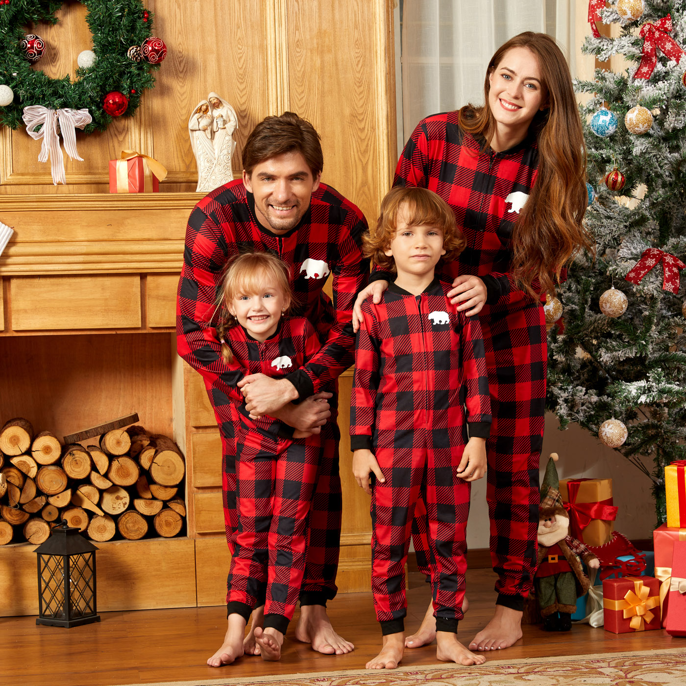 Tenues Assorties Pyjamas Combinaison Noël Carreau
