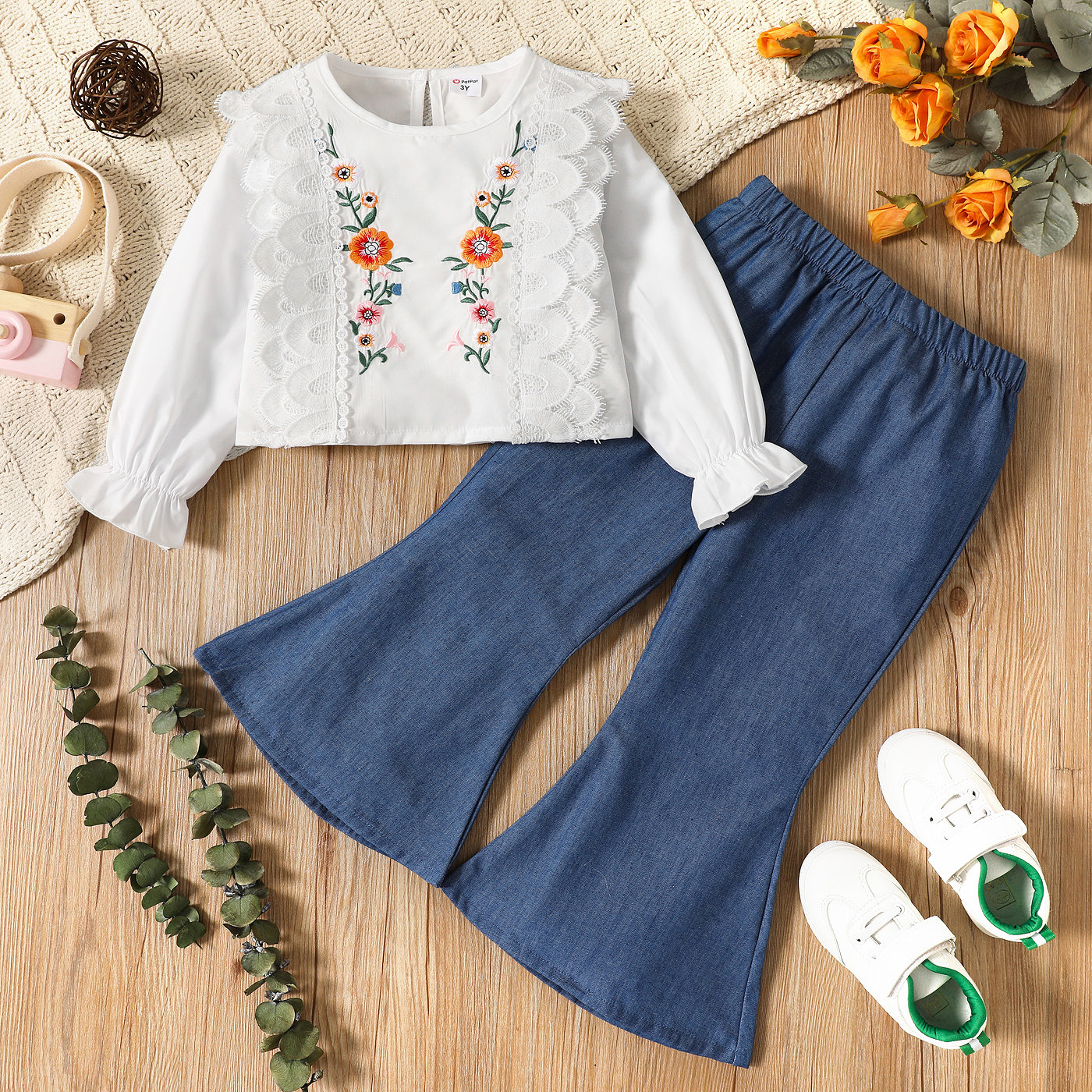 2-piece Toddler Girl Floral Embroidered Lace Design Long-sleeve Top and Flared Denim Jeans Set