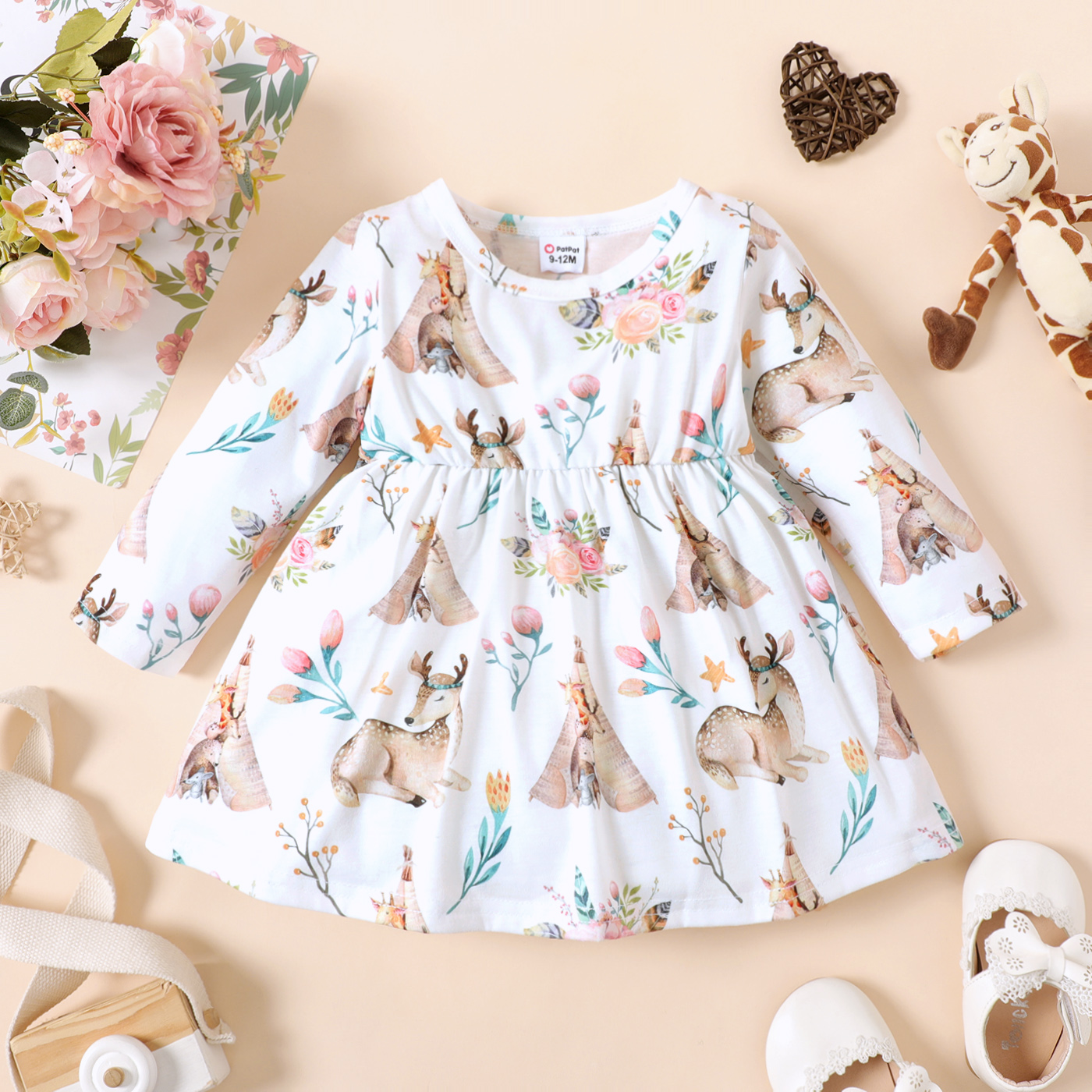 Baby Girl Floral Deer Print Round-collar Long-sleeve Dress